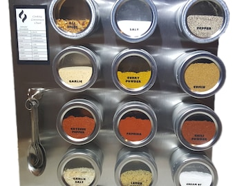 12 Tin Magnetic Spice Rack (Jars, Labels, Spoons, Stainless Steel Plate & Chart)