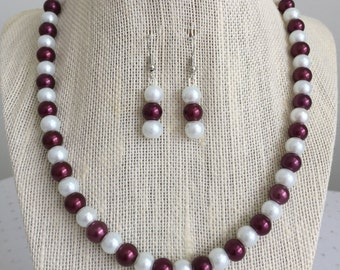 Burgundy Pearl Necklace, Burgundy Bridesmaid Jewelry, Burgundy Wedding Jewelry, Wine Wedding Jewelry, Wine Necklace Set, Burgundy Necklace