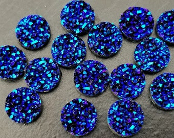 Dark Metallic Blue Purple 12mm Crystal Faux Druzy Cabochons 10 pcs - C16:15