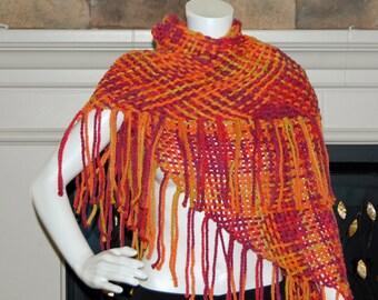 Orange shawl, orange pink scarf, woven wrap, wrap scarf, vegan shawl, women's wrap, fringe scarf, triangle shawl, wrap, vegan shawl, pink