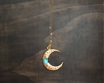 Turquoise Gold Moon Necklace // Turquoise Moon Necklace // Gold Moon Necklace