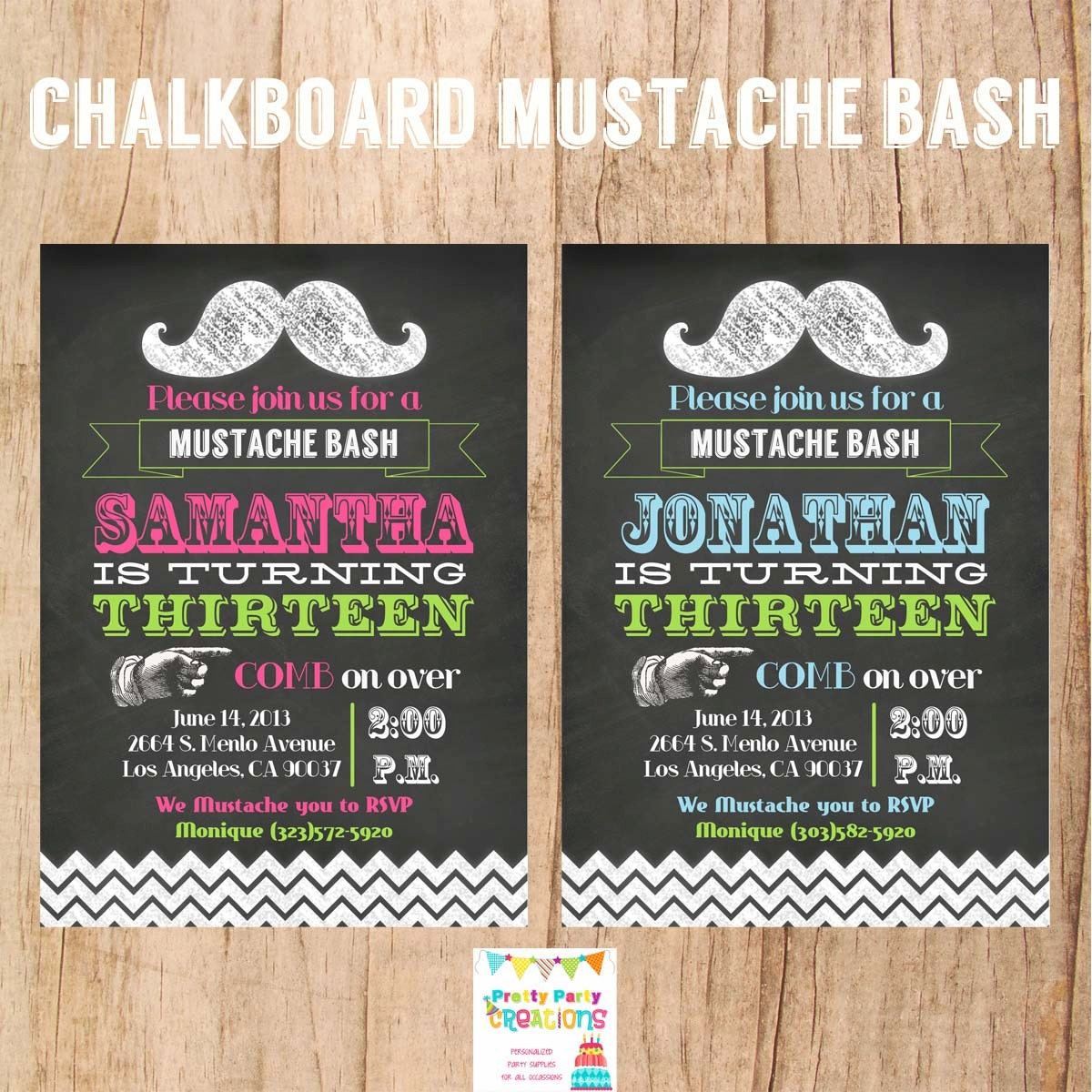 MUSTACHE invitation YOU Print
