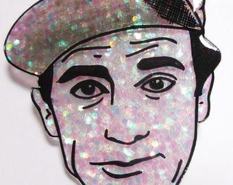 Norman Wisdom glittery illustrated brooch