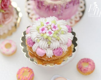 MTO -St Honoré Pastry with Pink Icing and Blossoms - 12th Scale Miniature Food (Pink Collection 2016)