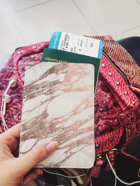 Pass-Abdeckung-Leder-Pass-Inhaber personalisiert Marmor