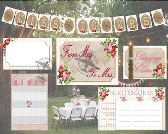 Miss to Mrs Bridal Shower Decorations - PDF Download - Personalized - Shabby - Banner -Travel - Party - Banner - DIY