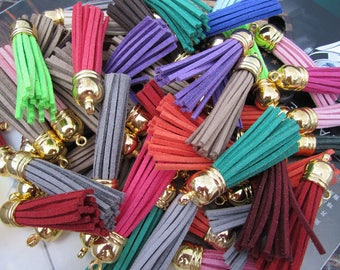 20 assorted color faux suede leather tassels, faux leather string Tassles, faux suede tassles, wholesale tassels, tassels for jewerly 2.25''