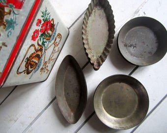 Vintage Patisserie Moulds, French Cake Tins, Vintage French Baking Tins, Petit Four Tins, Vintage Baking, French Kitchen, Kitchenalia