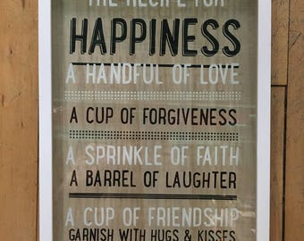 Recipe For Happiness Family Wall Sign
