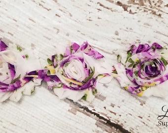 Purple Floral Print Shabby Chiffon Rosette Trim - Floral Pattern Fabric Flower Trim by the Yard - Shabby Chic DIY Wedding Supplies