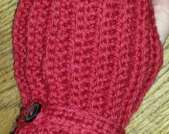 Soft and cozy red fingerless gloves. Texting gloves. Driving gloves. Hand crocheted.