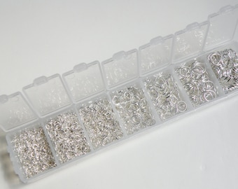 1 Box Set jump rings shiny silver 3mm-8mm round open 1500 pcs assorted sizes DB08915