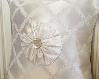 Damask White Pillow.  YoYo Pillow. Wedding Pillow.  Engagement Gift. Wedding Gift.  Baptism Gift. First Communion Gift. Purity Gift.