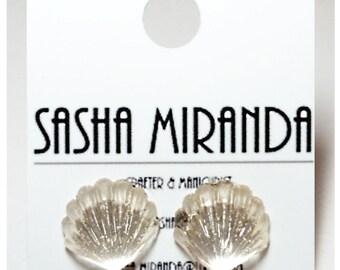 Sea Shell Clear Acrylic Earrings