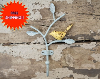 Yellow Bird Wall Hook // Vintage Style Wall Hook // Shabby Chic Wall Hook // Antiqued Wall Hook // Coat Hook // Towel Rack // Wall Rack