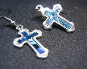 cross pearl earring
