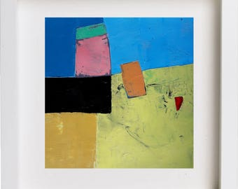 Geometric painting, abstract painting, small oil painting, abstract landscape, original painting on paper, yellow, blue, pink, red, square