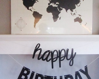 Happy Birthday Banner, Cursive Font,Mantel Banner, ,Cursive and Blocky letters, Black and White,Cursive Birthday Banner, Pary Photo Prop