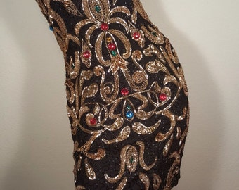 FREE  SHIPPING  Abstract Bead Sequin Dress