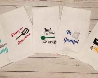 Set of 5, Funny Kitchen Towel, Housewarming Gift, Hostess Gift, Christmas Gift, Holiday Gift, Funny Towel Gift, Funny Gift, White Elephant