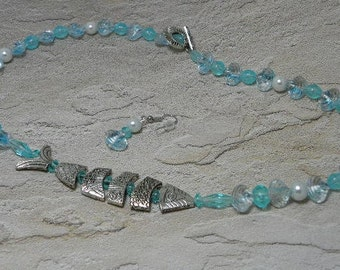 Pearls and Greek Worry Fish Necklace Set