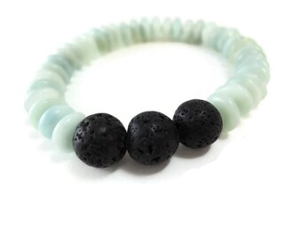 Pale Blue Stretch Bracelet Amazonite Rondelle, Pretty Faint Blue Bracelet Beaded with Black Lava Stone Focal, Amazonite Jewelry Slip On