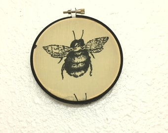 Upcycled BEE Wall Hanging / Bee Hoop Art / Office Cubicle Decor