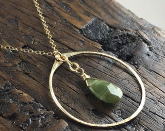Hammered Gold Filled Circle Pendant with Vesuvianite Gemstone.