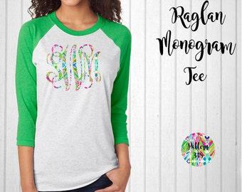 Monogram Shirt, Monogram Raglan Tee // Monogram T-Shirt in Pattern 348