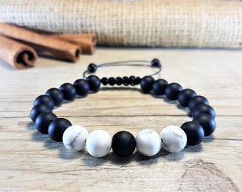 Black Onyx Bracelet, White Howlite, 21 Mala Bracelet, Prayer Beads, Men Bead Bracelet, Men Mala Bracelet, Energy Bracelet, Men Yoga Bracelet