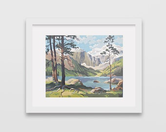 Vintage Paint by Number, mountain, mountain lake, forrest, Print Your Own, Instant Art, Digital Download,