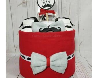 Mustache Diaper Cake| Little Man Diaper Cake| Mustache Baby Gift| Little Man Baby Gift| Little Man Baby Shower| Boy's Diaper Cake| Baby Gift