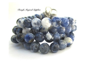Blue White and Gray Gemstones, 6mm Natural Sodalite Multicolor Stones Small Round Beads, DIY Jewelry Maker Gift for Designer 24 Pieces SP715
