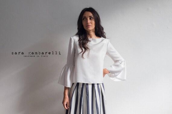 WHITE SILK BLOUSE, ruffle shirt, long sleeve blouse, white blouse with long sleeves, ruffled sleeve top, bell sleeve top, 70s white blouse