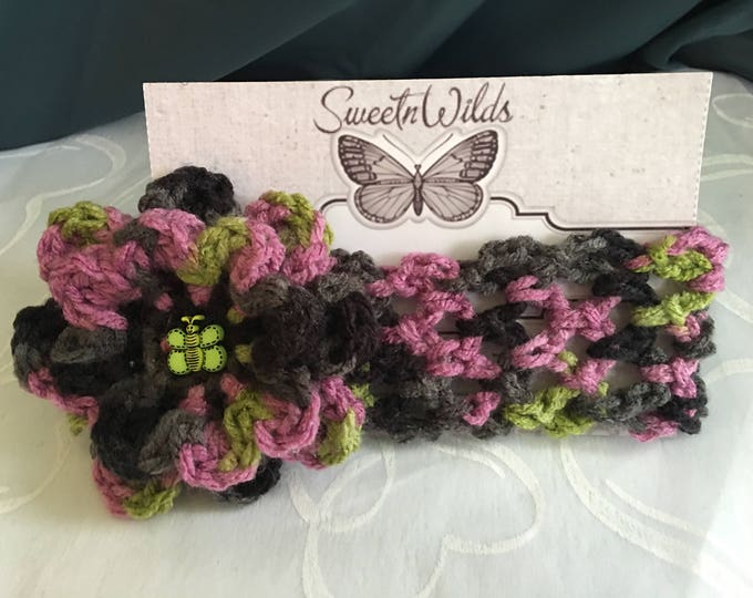 Crocheted Multi-Colored Stretchy Headbands-Girls hairbands-READY TO Crochet-Crocheted Flowers-Baby shower gifts-Photo props-Eerwarmers