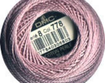 DMC 778 Perle Cotton Thread Size 8 Very Light Antique Mauve