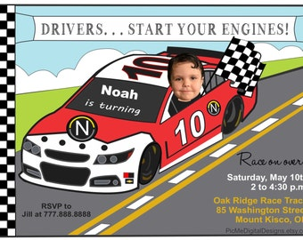 Nascar birthday card etsy race car birthday invitation photo nascar birthday invitation photo invitation custom photo invitation filmwisefo Choice Image