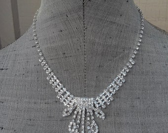 Clear Crystal Rhinestone Fringe Choker Necklace & Earring Set Sparkling Classic Wedding Bride Bridal Jewelry Jewellery Gift For Her