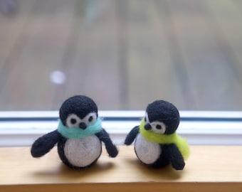 Little needle felted penguin, miniature felt birdie