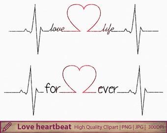 Love life clipart, forever heartbeat clip art, wedding invitation, tattoo design, scrapbooking,digital instant download, jpg png 300dpi