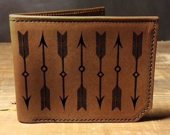wallet - leather wallet - mens wallet- arrows wallet - 032
