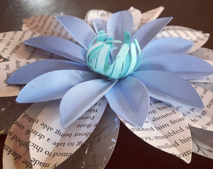 """7"""" Book Page Dahlia - Custom Book Flower Decor - Cardstock Home Decor - Gift for Her - Literary Wedding - Backdrop - Wall Flowers - Bookworm"""