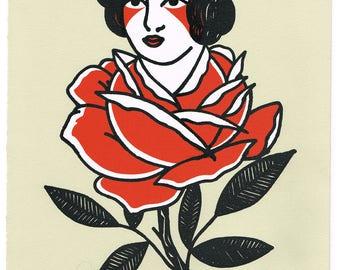 Rose Lady Screen Print