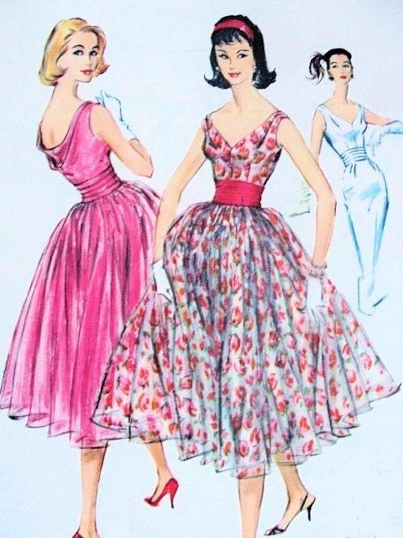años 50 Vestido de noche HERMOSO patrón solía 4414 vestido patrón de ...