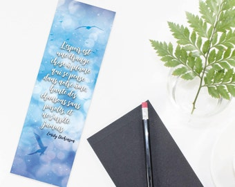 "Bookmark both sides quote Emily Dickinson - ""Hope is the thing with feathers  That perches in the soul  And sings the tune without..."""