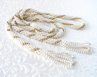 White Wedding 41 Inch Long Flapper Sautoir Tassel Necklace Crochet Pearl Gold Bead Beaded Lariat Downton 20s Style Vintage Costume Jewelry