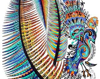 Peacock Art, Bohemian Art, Boho Home Decor, Zentangle Bird, Mandala, Bird Art, Spirit Animal Art, Feathers, Indigo, Turquoise, Hippy