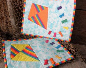 Flying Kite Snack Mats, Set of Two Rainbow Colored Quilted Cotton Mug Rugs, Mini Placemats, Spring Decor