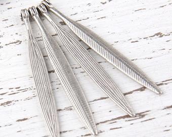 Silver Plated Long Leaf Charm Pendants, 4 pieces//SP-282