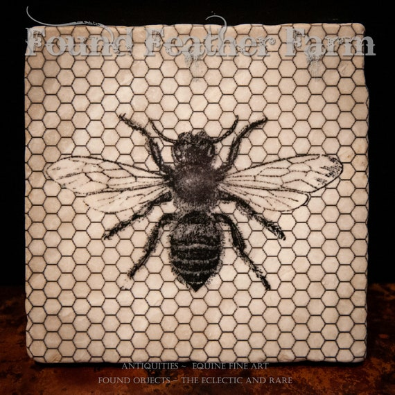 Tumbled Stone Wine Coasters with Vintage Honey Bee and Comb Image